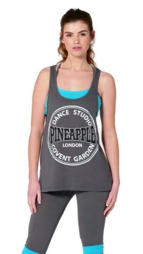 PINEAPPLE DANCEWEAR Womens Sleeveless Racerback Studio Dance Vest Charcoal